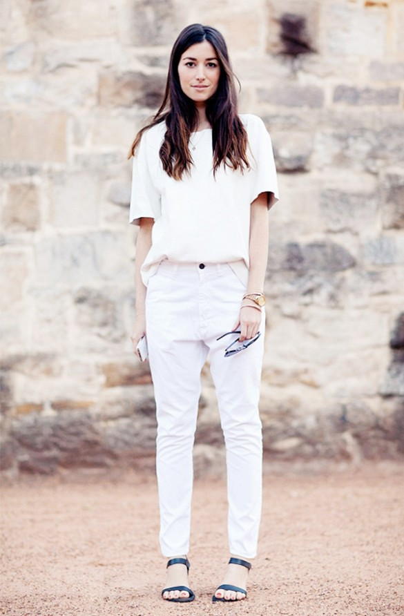 white-jeans-white-oxford-shirt-short-sleeve-shirt-black-and-white-sandals-flats-via-chronicles-ofh-her-work